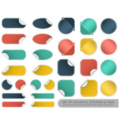 Set of blank colorful stickers and tags vector