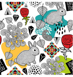 Endless pattern with cute animals and abstract vector