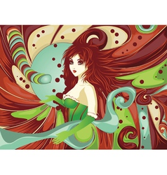 Red haired girl on candy background vector image