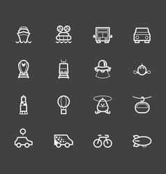 Vehicle element white icon set on black background vector