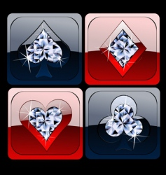Diamond metallic card game sig vector