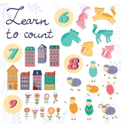 Learn to count concept set of cute graphic vector