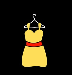 A yellow dress on a hanger vector