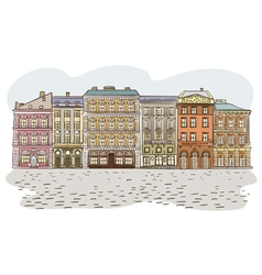 Antique european street summer city landscape pan vector