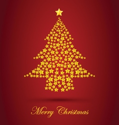 Gold christmas tree with red background vector