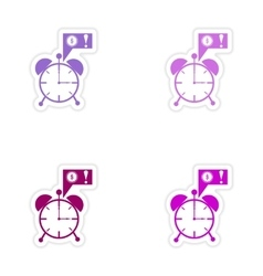 Set of stylish sticker on paper alarm clock money vector