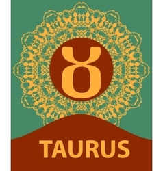 Taurus zodiac icon with mandala print vector