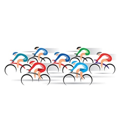 Cyclists racers vector