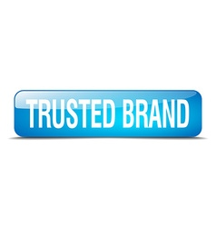 Trusted brand blue square 3d realistic isolated vector
