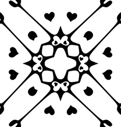Seamless pattern with hearts monochromatic vector