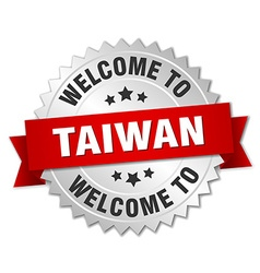 Taiwan 3d silver badge with red ribbon vector