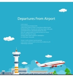 Plane takes off from the airport  travel concept vector