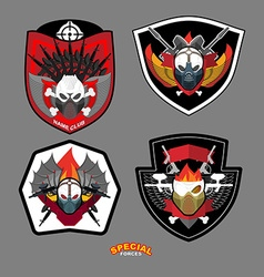 Army emblem set special forces patch with skull vector