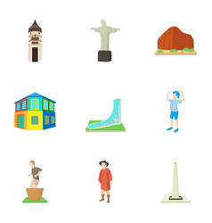 Attractions of brazil icons set cartoon style vector