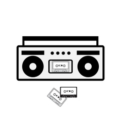 Boombox and cassette icon vector