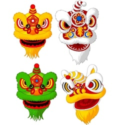 Cartoon Chinese lion head collection vector image