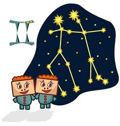 Cartoon Zodiac Gemini with a rectangular faces vector image