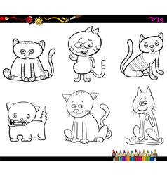 Cat characters coloring page vector