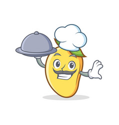 Chef with food mango character cartoon mascot vector