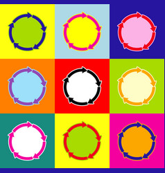 cirkular arrows sign pop-art style vector image