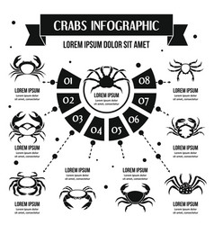 Crabs infographic concept simple style vector