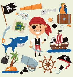 Cute boy in a pirate costume and various objects vector