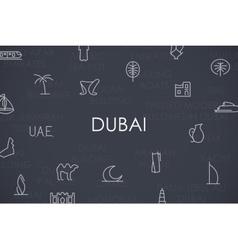 Dubai thin line icons vector
