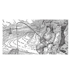 Fisherman vintage vector