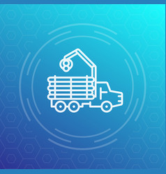 Forwarder logger logging truck line icon vector