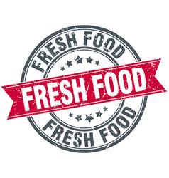 Fresh food red round grunge vintage ribbon stamp vector