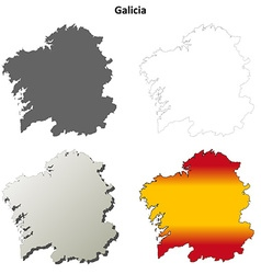 Galicia blank detailed outline map set vector