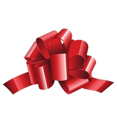 Gift red ribbon and bow isolated on white vector image vector image