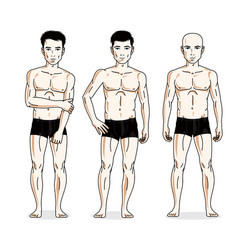 Handsome men posing in black underwear people set vector