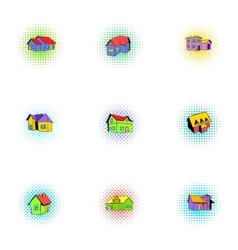 House icons set pop-art style vector