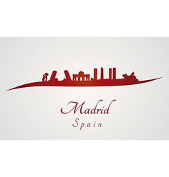 Madrid skyline in red vector