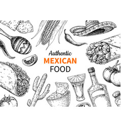 Mexican food and drink sketch tequila sho vector