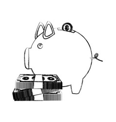 Monochrome sketch of money box in shape of piggy vector