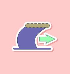 Paper sticker on stylish background tsunami vector