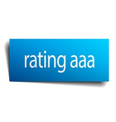 Rating aaa blue paper sign on white background vector