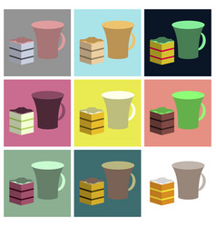 Set icons in flat design cup of coffee and pie vector