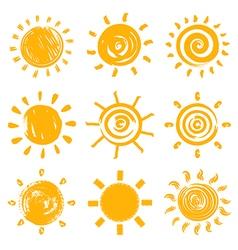 Set of drawn sun symbols vector image vector image