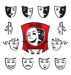 set of theatrical masks vector image vector image