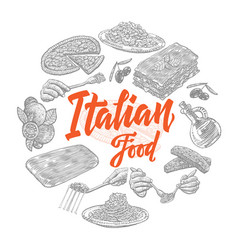 sketch italian food elements collection vector image vector image