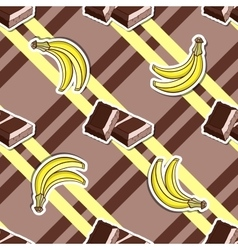 Striped background chocolate banana vector