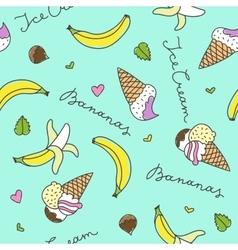 bananas and ice cream cones vector image