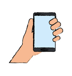 Drawing hand holds smartphone device technology vector