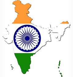 Map of india with national flag vector