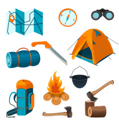 Set of accessories for camping rest and hiking vector