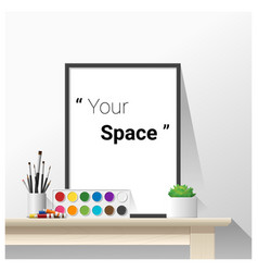 Poster mock up with empty frame and art supplies vector