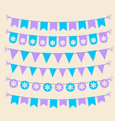 Bunting set patel purple and blue scrapbook design vector
